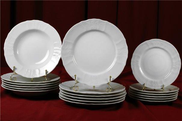 Набор Тарелок на 6 персон 18 предметов Бернадотт Белая Посуда Чехия