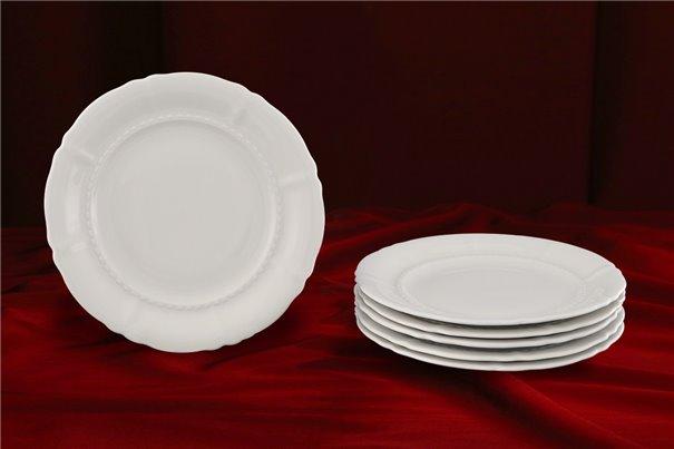 Набор Пирожковых Тарелок 17 см 6 штук Соната Белая Чехия