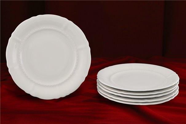 Набор Десертных Тарелок 19 см 6 штук Соната Белая Чехия