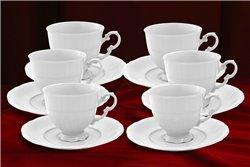 Набор Кофейных Чашек 150 мл на 6 персон 12 предметов Соната Белая Чехия