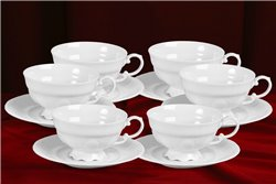 Набор Чайных Чашек 200 мл на 6 персон 12 предметов Соната Белая Чехия