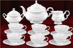 Чайный Сервиз на 6 персон 17 предметов Соната Белая Чехия