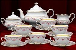 Чайный Сервиз на 6 персон 17 предметов Соната Мелкие Цветы Золото Чехия
