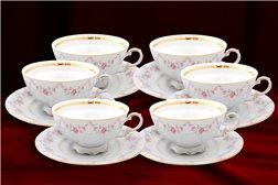 Набор Чайных Чашек 200 мл на 6 персон 12 предметов Соната Мелкие Цветы Золото Чехия