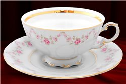 Чайная Чашка 200 мл с блюдцем 15 см 2 предмета Соната Мелкие Цветы Золото Чехия