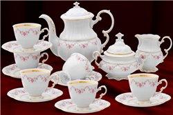 Кофейный Сервиз на 6 персон 17 предметов Соната Мелкие Цветы Золото Чехия