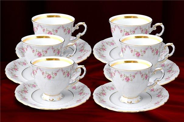 Набор Кофейных Чашек 150 мл на 6 персон 12 предметов Соната Мелкие Цветы Золото Чехия