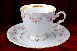 Кофейная Чашка 150 мл с блюдцем 13 см 2 предмета Соната Мелкие Цветы Золото Чехия