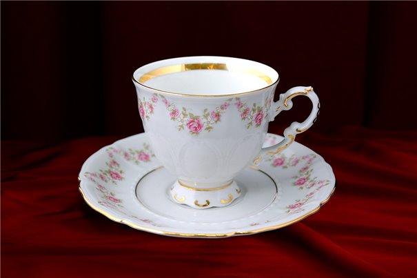 Кофейная Чашка 100 мл с блюдцем 2 предмета Соната Мелкие Цветы Золото Чехия