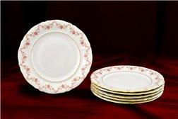 Набор Пирожковых Тарелок 17 см 6 штук Соната Мелкие Цветы Золото Чехия