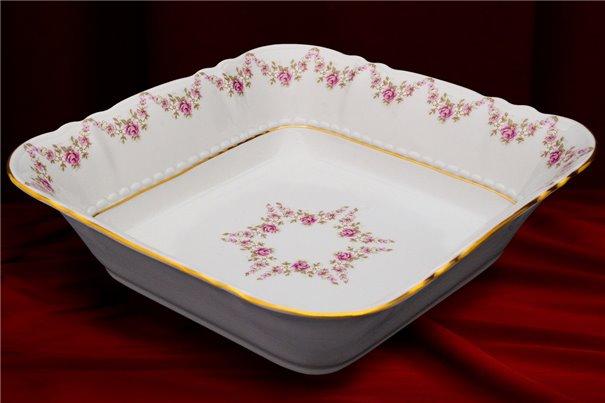 Салатник Квадратный 25 см 1 штука Соната Мелкие Цветы Золото Чехия