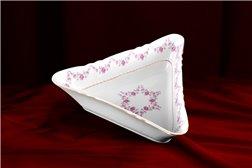 Салатник Треугольный 17 см 1 штука Соната Мелкие Цветы Золото Чехия
