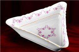 Салатник Треугольный 25 см 1 штука Соната Мелкие Цветы Золото Чехия