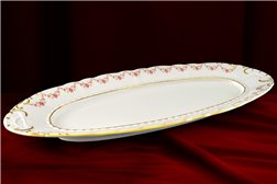 Блюдо Овальное 55 см 1 штука Соната Мелкие Цветы Золото Чехия