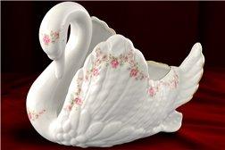 Конфетница Лебедь 1 штука Соната Мелкие Цветы Золото Чехия