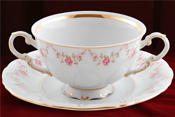 Чашка для Супа 350 мл 2 предмета Соната Мелкие Цветы Золото Чехия