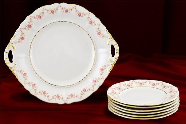 Набор для Торта 17 см 7 предметов Соната Мелкие Цветы Золото Чехия