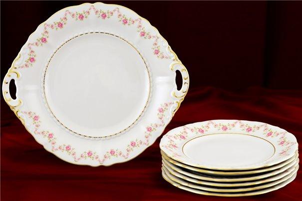 Набор для Торта 19 см 7 предметов Соната Мелкие Цветы Золото Чехия