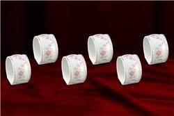 Набор Колец 6 см для Салфеток 6 штук Соната Мелкие Цветы Золото Чехия