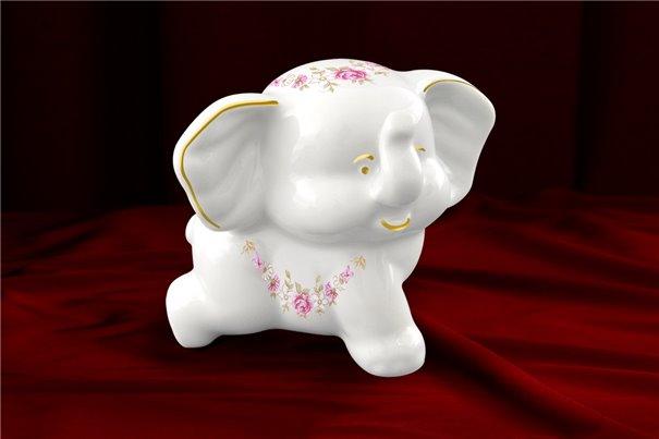 Фигурка Фарфоровая Слоненок Бимбо Золото 1 штука Чехия