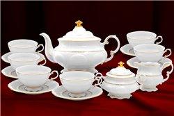 Чайный Сервиз на 6 персон 17 предметов Соната Отводка Золото Чехия