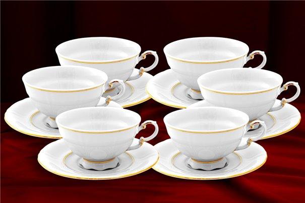 Набор Чайных Чашек 200 мл на 6 персон 12 предметов Соната Отводка Золото Чехия