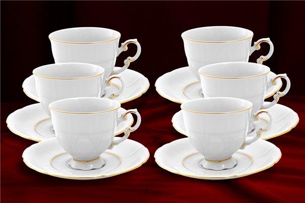 Набор Кофейных Чашек 150 мл на 6 персон 12 предметов Соната Отводка Золото Чехия