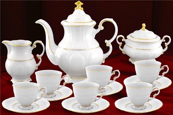 Кофейный Сервиз Мокко на 6 персон 17 предметов Соната Отводка Золото Чехия