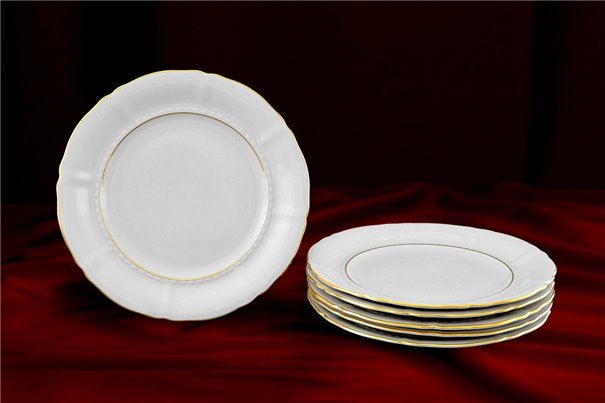 Набор Пирожковых Тарелок 17 см 6 штук Соната Отводка Золото Чехия