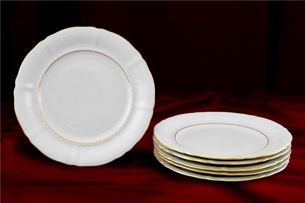 Набор Десертных Тарелок 19 см 6 штук Соната Отводка Золото Чехия