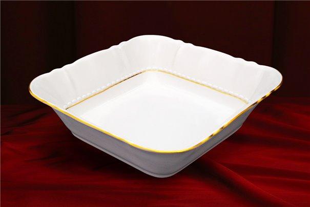 Салатник Квадратный 21 см 1 штука Соната Отводка Золото Чехия