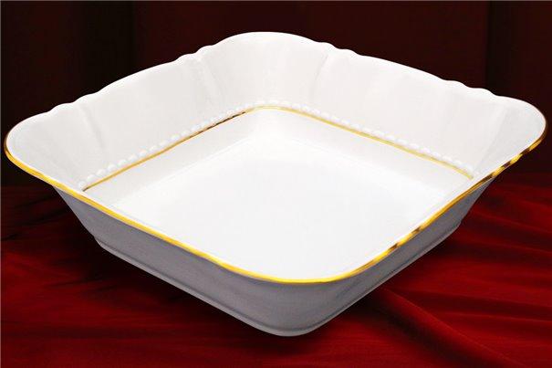 Салатник Квадратный 25 см 1 штука Соната Отводка Золото Чехия