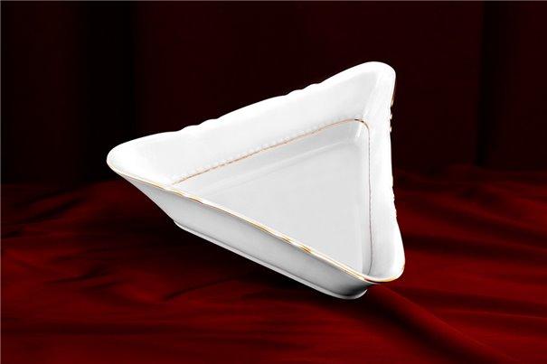 Салатник Треугольный 17 см 1 штука Соната Отводка Золото Чехия