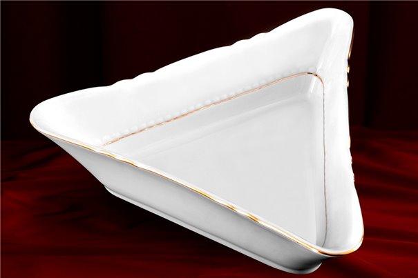 Салатник Треугольный 25 см 1 штука Соната Отводка Золото Чехия