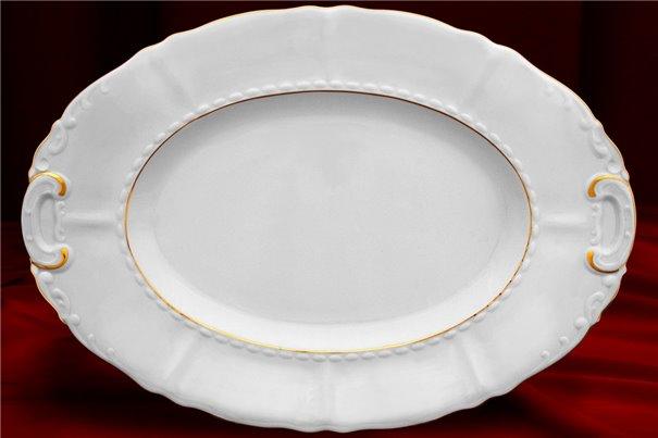 Блюдо Овальное 39 см 1 штука Соната Отводка Золото Чехия