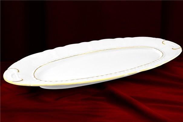 Блюдо Овальное 55 см 1 штука Соната Отводка Золото Чехия