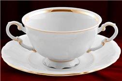 Набор Чашек для Супа 350 мл 12 предметов Соната Отводка Золото Чехия