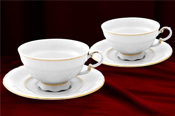 Набор Чайных Чашек 200 мл на 2 персоны 4 предмета Соната Отводка Золото Чехия