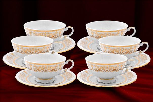 Набор Чайных Чашек 200 мл на 6 персон 12 предметов Соната Золотой Орнамент Чехия
