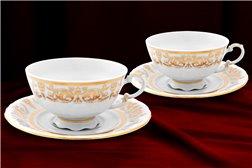Набор Чайных Чашек 200 мл на 2 персоны 4 предмета Соната Золотой Орнамент Чехия