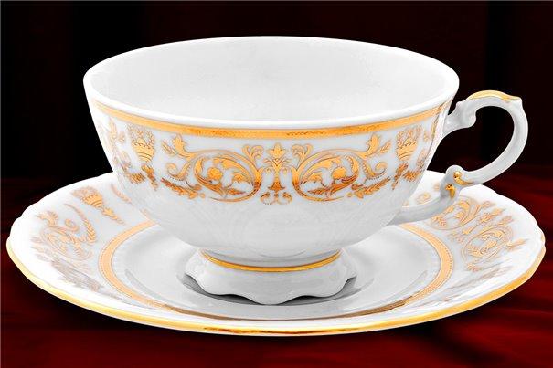 Чайная Чашка 200 мл с блюдцем 15 см 2 предмета Соната Золотой Орнамент Чехия