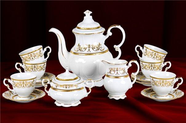 Кофейный Сервиз на 6 персон 17 предметов Соната Золотой Орнамент Чехия