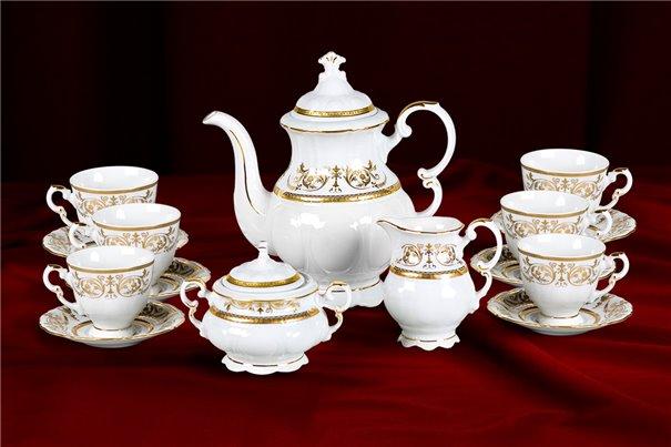 Кофейный Сервиз Мокко на 6 персон 17 предметов Соната Золотой Орнамент Чехия