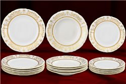 Набор Тарелок на 6 персон 18 предметов Соната Золотой Орнамент Чехия