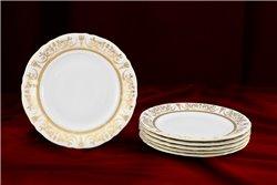 Набор Пирожковых Тарелок 17 см 6 штук Соната Золотой Орнамент Чехия