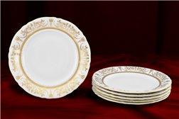 Набор Десертных Тарелок 19 см 6 штук Соната Золотой Орнамент Чехия