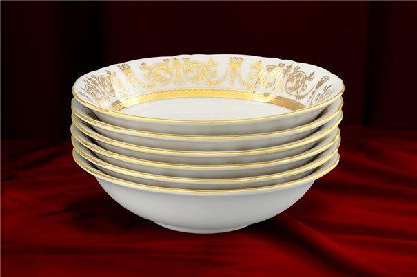 Набор Салатников Круглых 16 см 6 штук Соната Золотой Орнамент Чехия