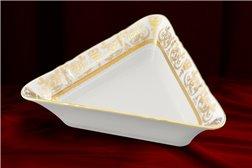 Салатник Треугольный 21 см 1 штука Соната Золотой Орнамент Чехия