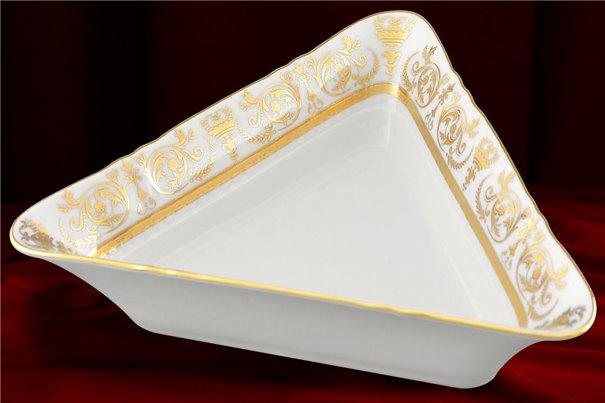 Салатник Треугольный 25 см 1 штука Соната Золотой Орнамент Чехия