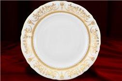 Блюдо Круглое 32 см 1 штука Соната Золотой Орнамент Чехия